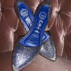 Pointed Jeffrey Campbell glitter jelly shoes